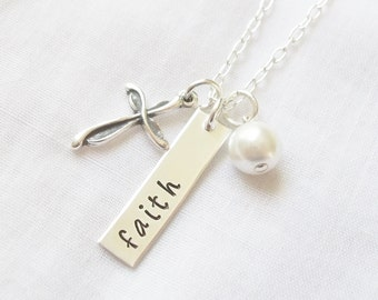 Hand Stamped Faith Cross Necklace ~ Christian Jewelry, Everlasting Cross, Everlasting Love, Have Faith, Sterling Silver