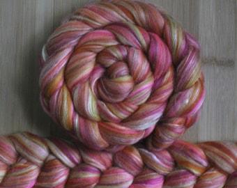 "Merino Silk 'GLISTEN Roving' in ""Tropical Sky"" colorway - Fuchsia-maroon, pink, orange, yellow blend - Spinning Felting Braid Fiber"