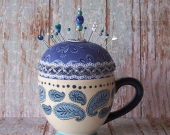 Fun Huge Paisley Cup Pincushion with Cream, Blues and Teal Colors
