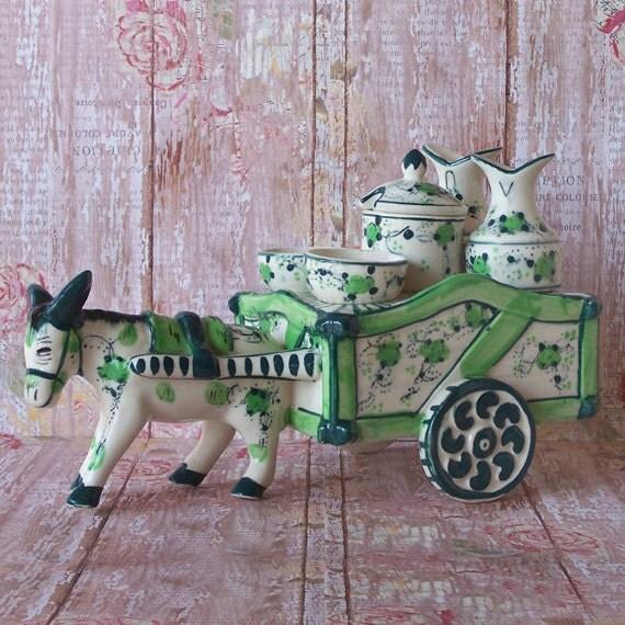 Vintage Nasco Hand Painted Japan Donkey Amp Cart Cruet