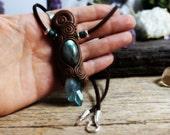 Aqua Aura Quartz and Labradorite Necklace. Handcrafted Clay & Gemstone Pendant.