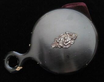 Vintage Ebony Hand Mirror Sterling Accent Antique Wooden Handmirror Silver Vanity Piece Handmirror Art Nouveau