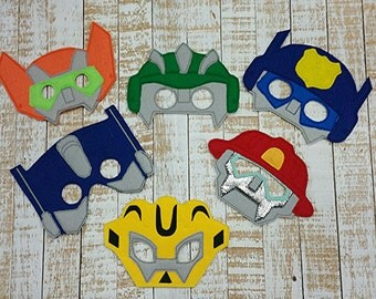 Transformers -Rescue Bots - Bumblebee, Boulder, Blades, Heatwave, Chase,prime- Inspired Felt Mask Party Favor, Dress Up, Play, Costume