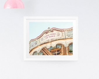 Paris carousel print, Paris photography, Merry-go-round print, Nursery wall decor, Large wall print, Paris print, Paris fair print