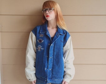Retro Tigger Jean Varsity Bomber Denim Puff Jacket // Unisex Men's Women's