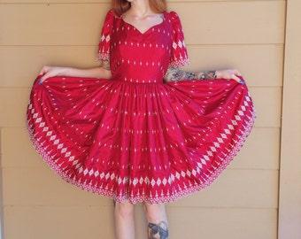 Beautiful Vintage Holiday Red White Dutch Handmade Embroidered Mini Dress // Women's M Medium