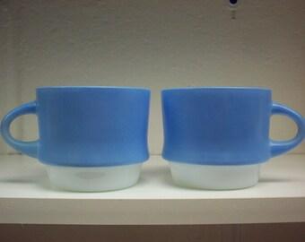 2 FIRE KING MUGS Mosaic Atomic Dots Blue & White Stacking Coffee Tea Cups