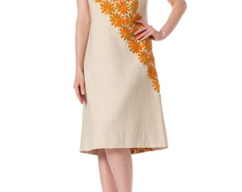 1960s Mod Daisy Embroidered Linen Sleeveless Dress SIZE: S, 4