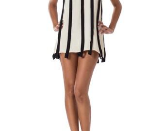 1960s Mod Black and White Sleeveless Tunic SIZE: S, 4