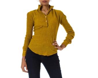 1990s Giorgio Armani Wool Mustard Long Sleeve Shirt   Size: S/M