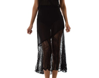 1930s Bias Cut Sheer Black Sleeveless Gown with Asymmetrical Lace Hemline SIZE: S/M, 6