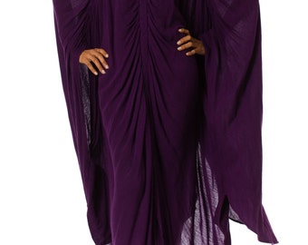 Purple Rayon Blend Caftan Dress with Ruching Size: One size