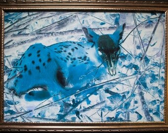 digital photo print of fawn in vintage frame