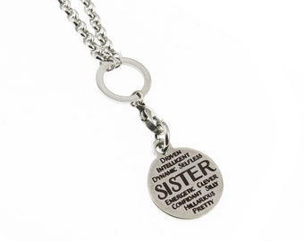 Soul Sister Family Long Charm Necklace Spiritual Stainless Steel Jewelry Gift for Her Expressions Bracelets