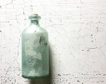 glass bottle. aqua bottle. sea glass jar. collectible. vintage bottles. cottage decor. vintage glass. refugeca2015