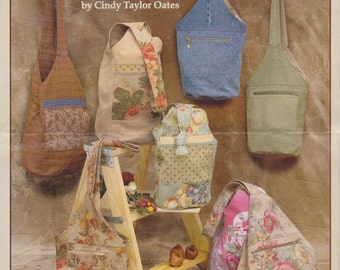 Purse and Bag Patterns - Taylor Made Bags - Two Cloth Bag Patterns - Over the Shoulder Large and Small Lined Bags - By Cindy Taylor Oats