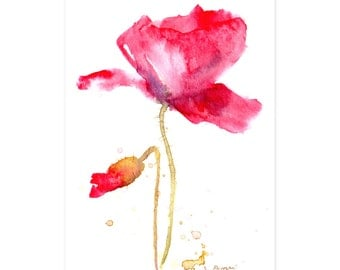 Poppy painting, Red poppy watercolor, modern flower illustration, country summer decor - Original art, 4x6 matted artwork, ready to hang
