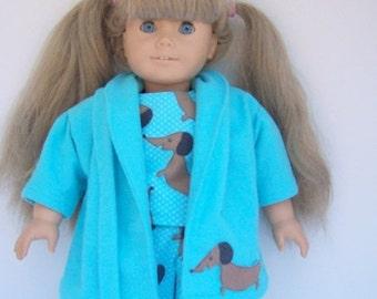 Happy Valentines Day Teal Blue Flannel Dachsund Bathrobe PJ Set for 17 to 18 Inch Dolls