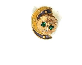 Art Deco 10K Cat & Enameled Crescent Moon Lapel Pin