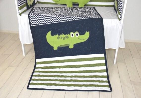 Alligator Quilt,  Crib Baby Blanket, Green Navy Off White Chevron