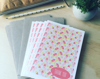 Thank You Card Pack -  Geometric Triangles - Pink - Set of 5 Cards - 5P009