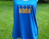 Womens Kansas City Royals Crown Gold Glitter Slouchy Relaxed Tank Vintage Royal Blue S-2XL