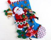 Christmas Stocking Finished Bucilla Stocking Personalized Stocking Santa Puppet Show Stocking Children's Kids Family Stocking Holiday Decor