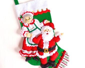 Christmas Stocking Personalized Stocking Family Stocking Finished Stocking Felt Stocking Kids Stocking Children's Stocking Design Works