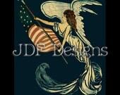 Instant Digital Download, Vintage Edwardian Era Graphic, Antique Patriotic Angel, Flag, Printable Image, Scrapbook, Banner Americana, July 4