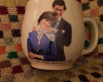 Charles and Diana Royal Wedding commemorative mug English Royal Family 1980s engagement Princess Di Windsor