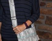 Kiki Shoulder Bag, Crossbody Bag, Shoulder Bag, Adjustable Strap, Accessories, Arrows, Grey and White, Zipper Pocket