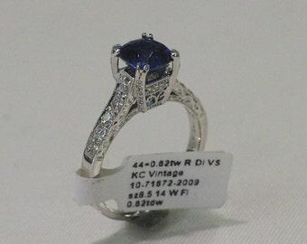Vintage 14 Karat White Gold Filigree 1920s Cushion Cut Ceylon Sapphire And Diamond Engagement Ring