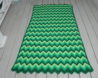 Afghan Zig Zap Green Stripe Crocheted Throw