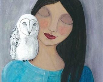 Folk Art Girl, Girl and Owl Print, White Owl Print, Owl Illustration, Woodland Art, Spirit Owl Art, Whimsical Artwork, Mixed Media Print