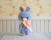 amigurumi bunny, kawaii fuzzy rabbit, crochet lavender purple rabbit stuffed plush poseable bunny