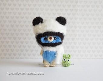 kawaii amigurumi blue bear, fuzzy petite bear in panda hat, mini chibi totoro, blythe bear