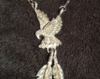 Sterling Silver Hand Made & Signed Eagle Pendant with Attached Small Link Chain