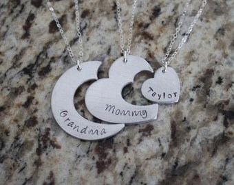 Nesting Heart Generations Family Jewelry, Hand Stamped, Sterling Silver