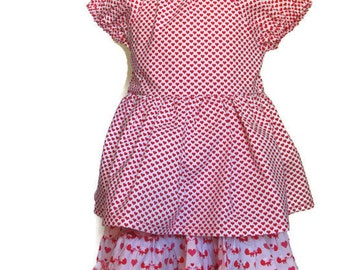 Twirly Skirt and Peasant Blouse - 2 piece skirt and blouse - Red hearts blouse and multi color layered ruffle skirt - Size 3t