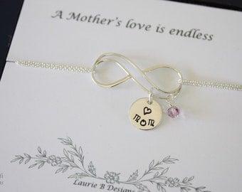 Infinity Bracelet Silver Mother, Initial Charms, Jewelry, Best Friend, Sterling Silver, Mom Bracelet, Grandma Bracelet, Infinite Friendship