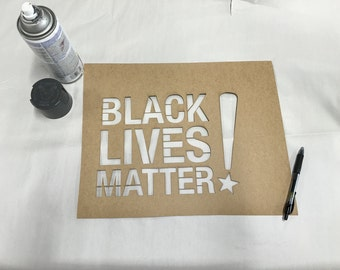 "Black Lives Matter Stencil - 18""x12"" - DIY"