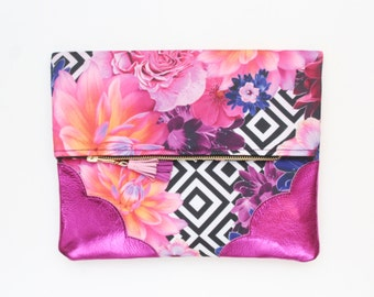 Reserved / FLOWERET 28 / Floral print fabric & Natural leather folded clutch bag with leather tassel - Ready to Ship
