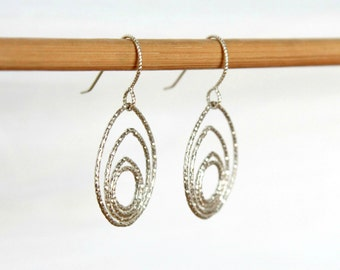 Sterling Silver Hammered Hoop Earrings Metal Minimalist Jewelry Silver Oval Teardrop Mandala Earrings Gift for Her