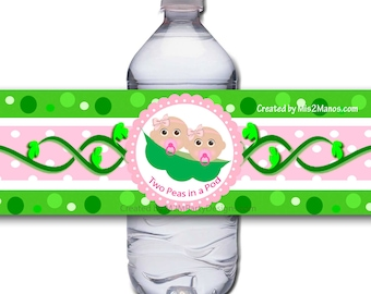 Two Peas in a Pod Dark Skin Twins Baby Shower Water Bottle Label Wrapper Printable Digital Instant Download Superhero SET of 5