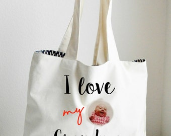 I love my grandma personalized Tote Bag Large, Sturdy, Heavyweight Canvas Grocery Bag