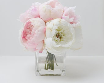 Peony Arrangement, Silk Peonies, Flower Arrangement, Silk Flower Arrangement, Vase of Peonies, Flowers, Silk Flowers, Pink Peony Arrangement