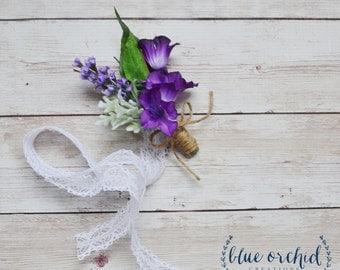 Wildflower Corsage - Wrist Corsage, Boho Wedding Flowers, Boho Wedding Corsage, Lavender Corsage, Purple Corsage