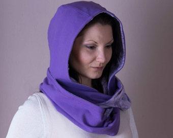 Hooded Scarf,Hood Scarf,Infinity Scarf,Reversible Hoodie,Jersey Scarf,Scarves For Women,Purple Fabric Scarf,Hooded Scarves,Womens Scarves