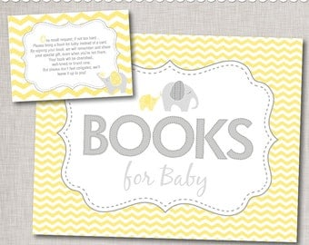 Book Request Printable Insert Cards and Sign / Yellow Elephant Baby Shower Book Request Set / INSTANT DOWNLOAD