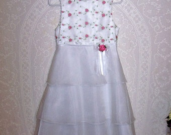 Size 14 - Vintage girls Dress - from Bonnie Jean - White - Pink - Satin - Organza - Easter - Junior Brides Maid